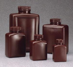 2009-0016: Nalgene Amber Rectangular Bottle HDPE 500 mL (Case of 48)