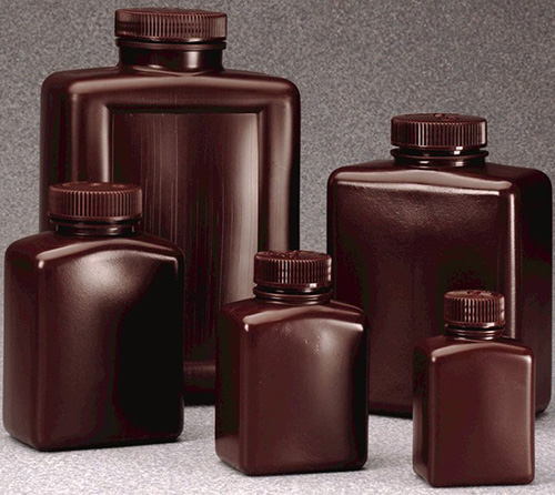 312009-0032: Nalgene Bottle, Rectangular - HDPE, Amber 32 oz / 1000 mL (53-415) (Case of 50)
